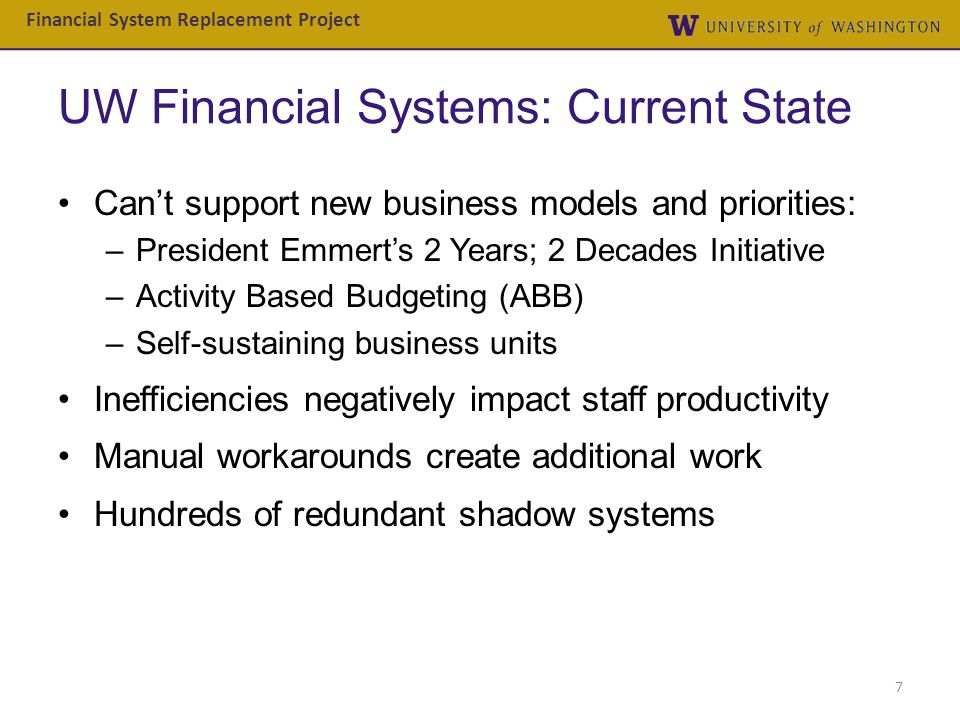 UW Financial Systems: Current State