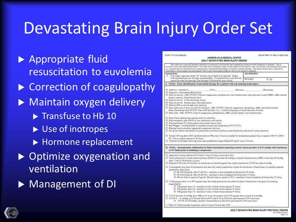 Devastating Brain Injury Order Set