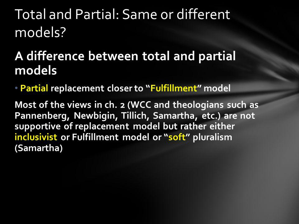 Total and Partial: Same or different models