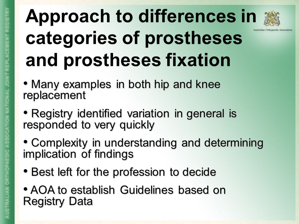 Approach to differences in categories of prostheses and prostheses fixation