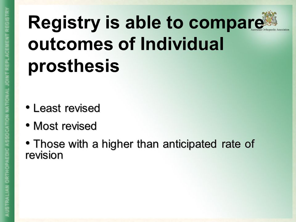 Registry is able to compare outcomes of Individual prosthesis