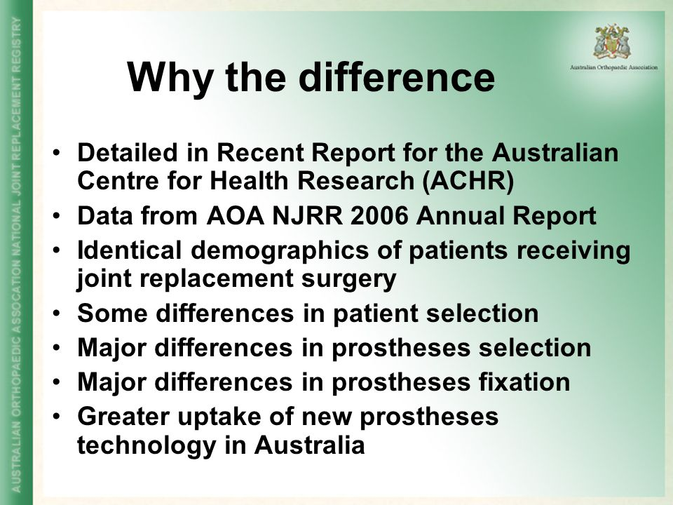 Why the difference Detailed in Recent Report for the Australian Centre for Health Research (ACHR) Data from AOA NJRR 2006 Annual Report.