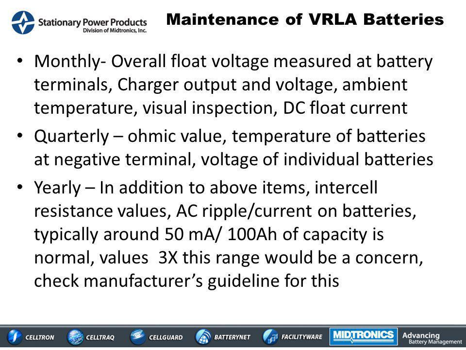 Maintenance of VRLA Batteries