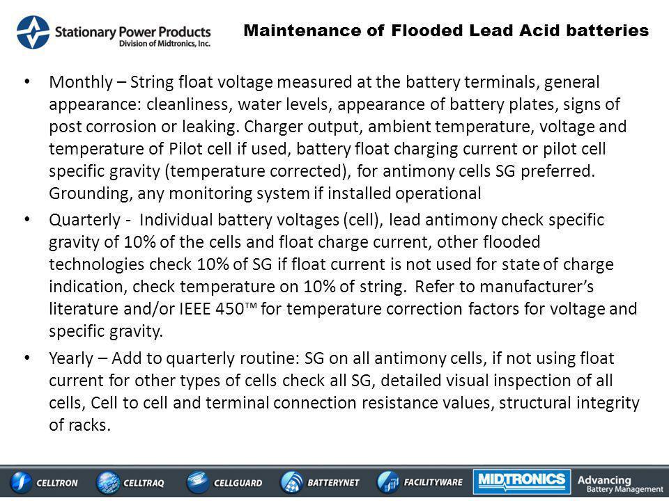 Maintenance of Flooded Lead Acid batteries