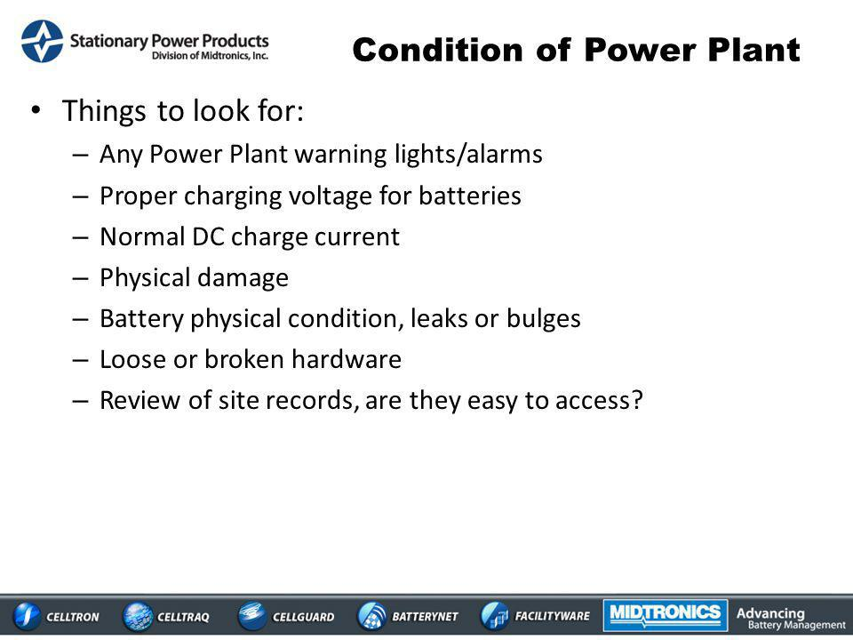 Condition of Power Plant