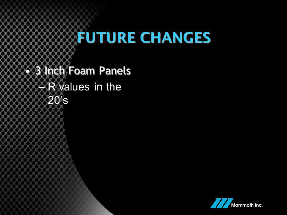 FUTURE CHANGES 3 Inch Foam Panels R values in the 20's
