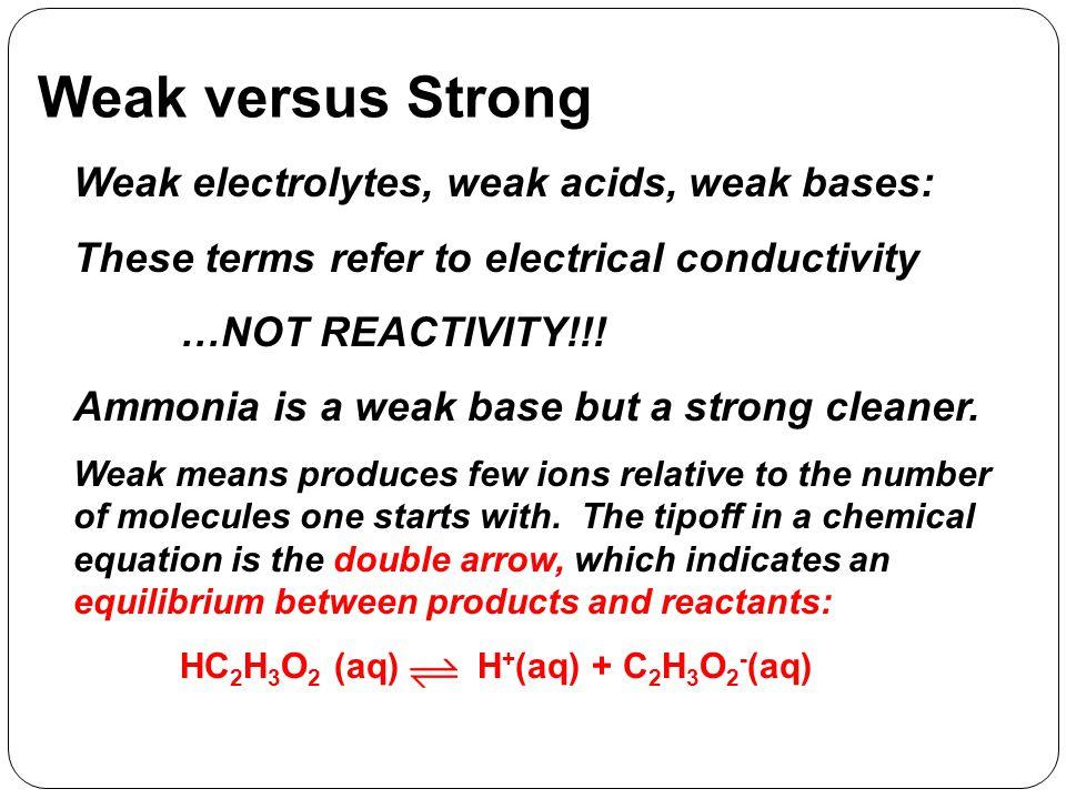 Weak versus Strong Weak electrolytes, weak acids, weak bases: