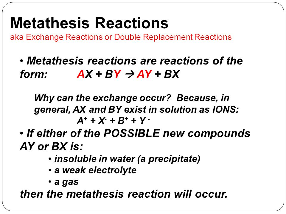 what is metathesis chemical reaction Metathesis or double displacement reaction in a double displacement or   quora user, bc chemistry, charles university in prague (2019.