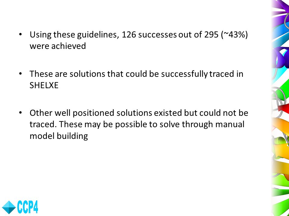 Using these guidelines, 126 successes out of 295 (~43%) were achieved
