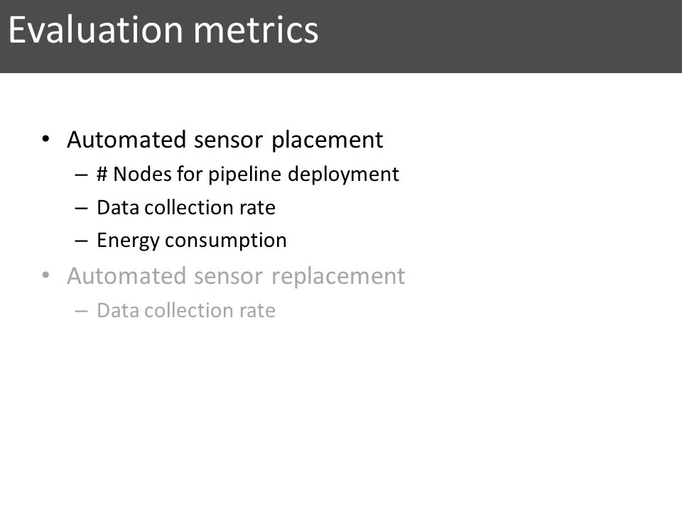 Evaluation metrics Automated sensor placement
