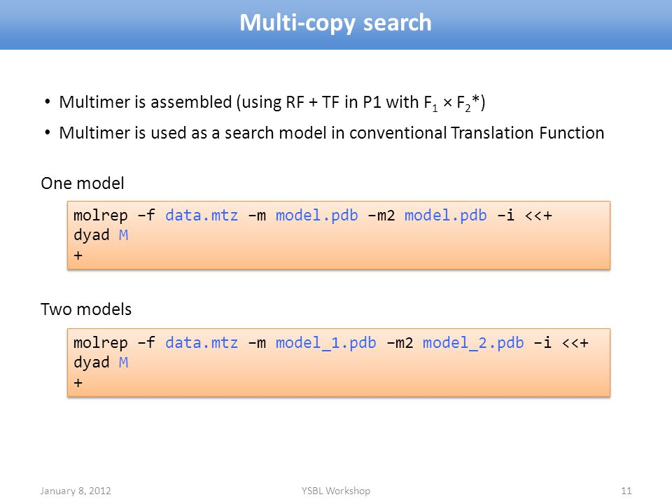 Multi-copy search Multimer is assembled (using RF + TF in P1 with F1 × F2*) Multimer is used as a search model in conventional Translation Function.