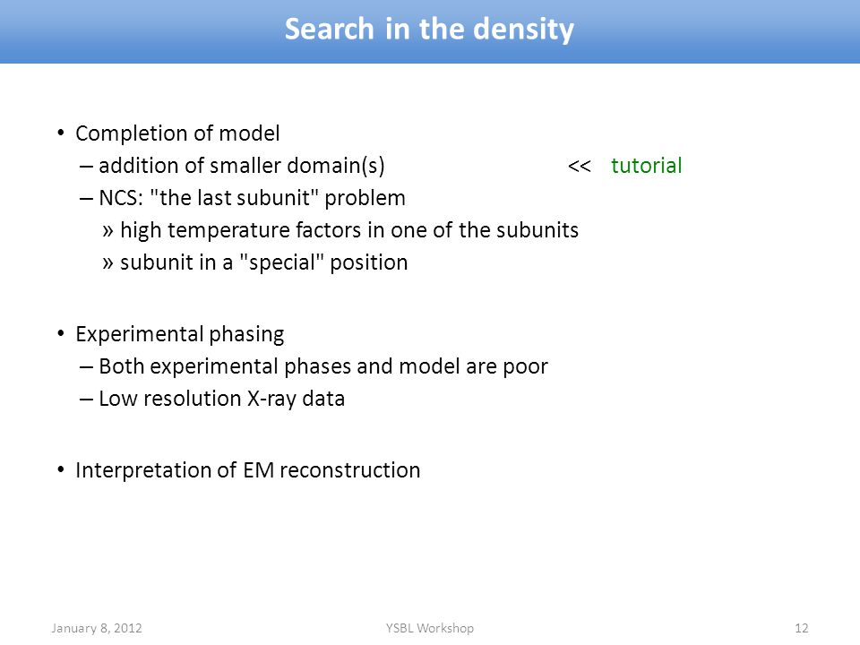 Search in the density Completion of model