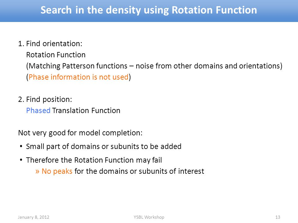 Search in the density using Rotation Function