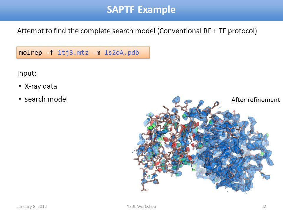 SAPTF Example Attempt to find the complete search model (Conventional RF + TF protocol) Input: X-ray data.