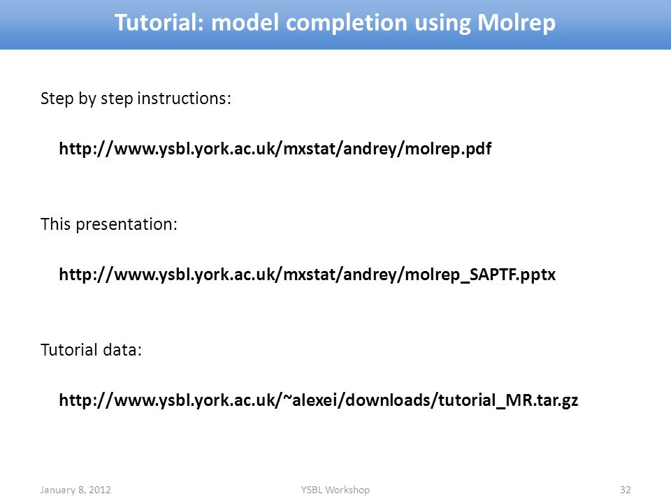 Tutorial: model completion using Molrep