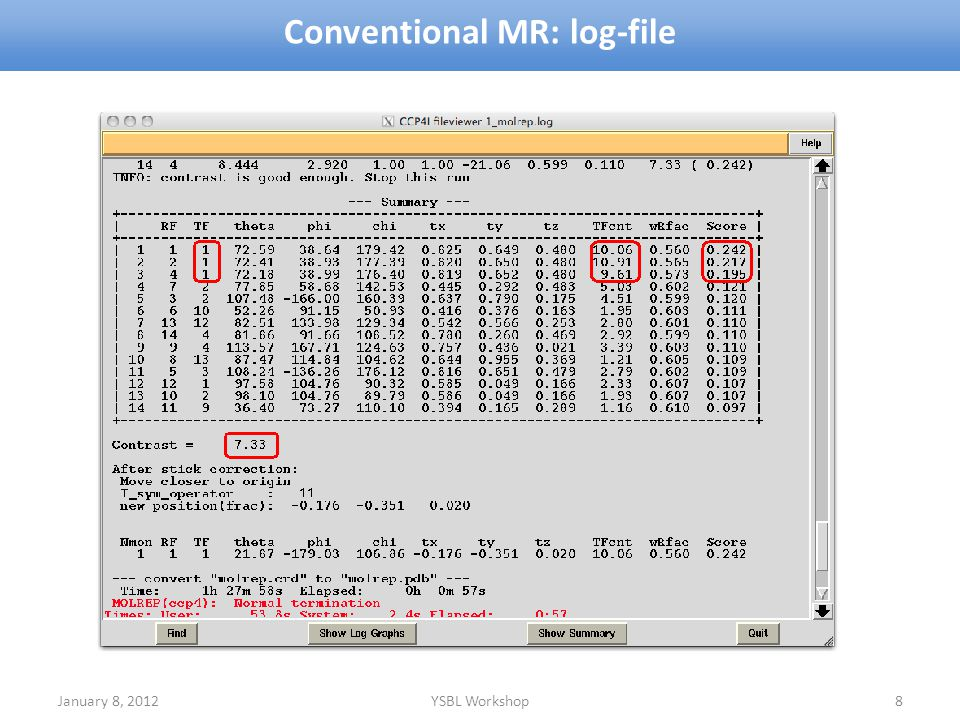 Conventional MR: log-file