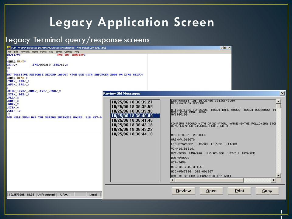 Legacy Application Screen