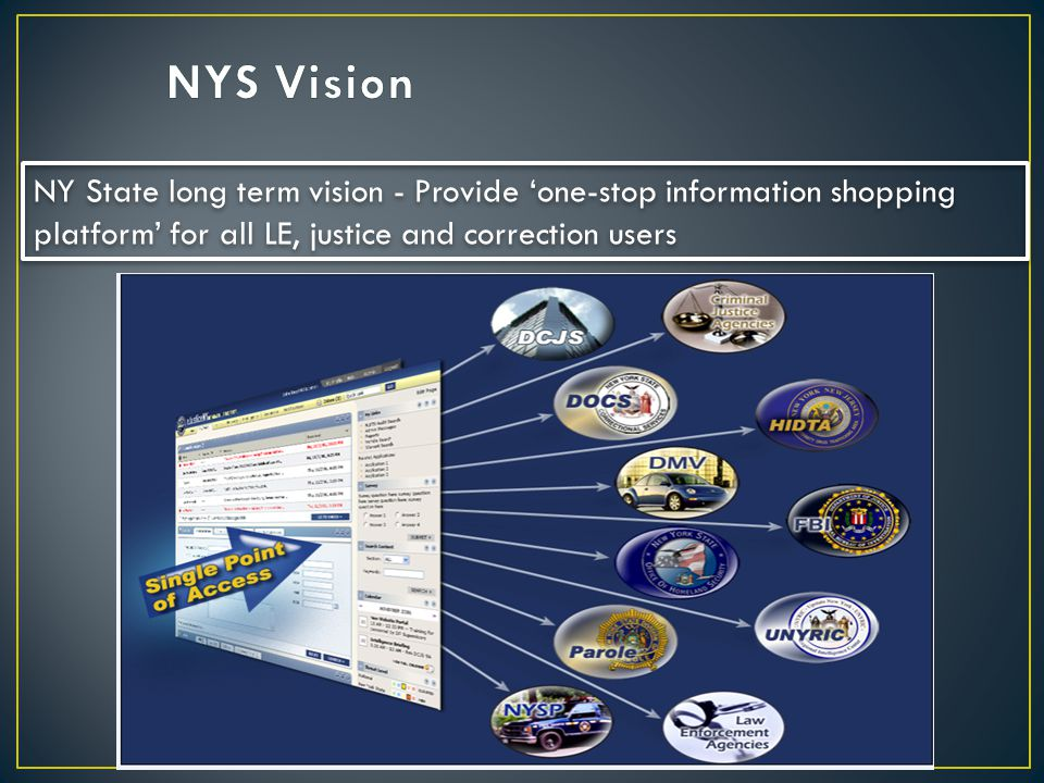 NYS Vision NY State long term vision - Provide 'one-stop information shopping platform' for all LE, justice and correction users.