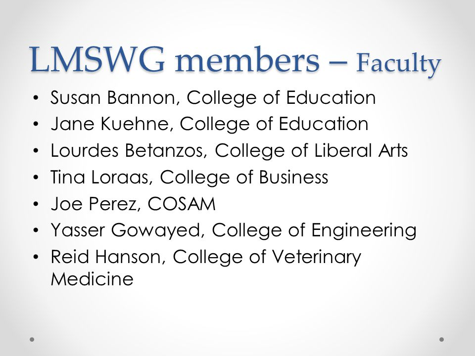 LMSWG members – Faculty
