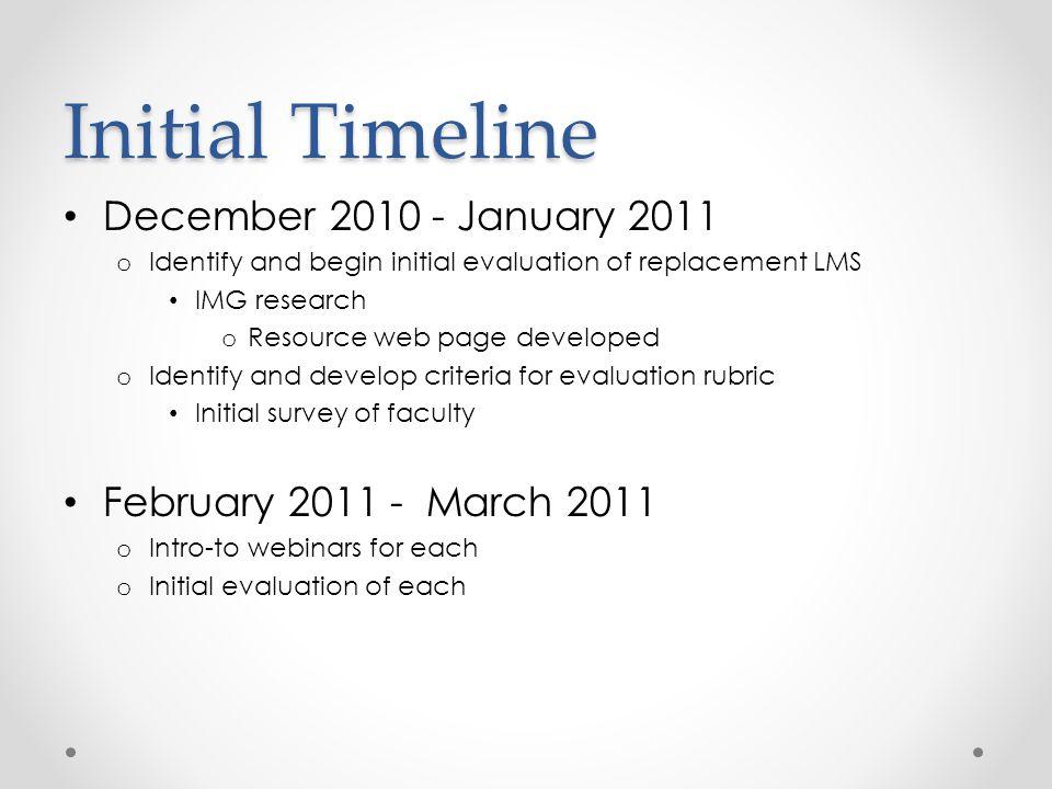 Initial Timeline December 2010 - January 2011