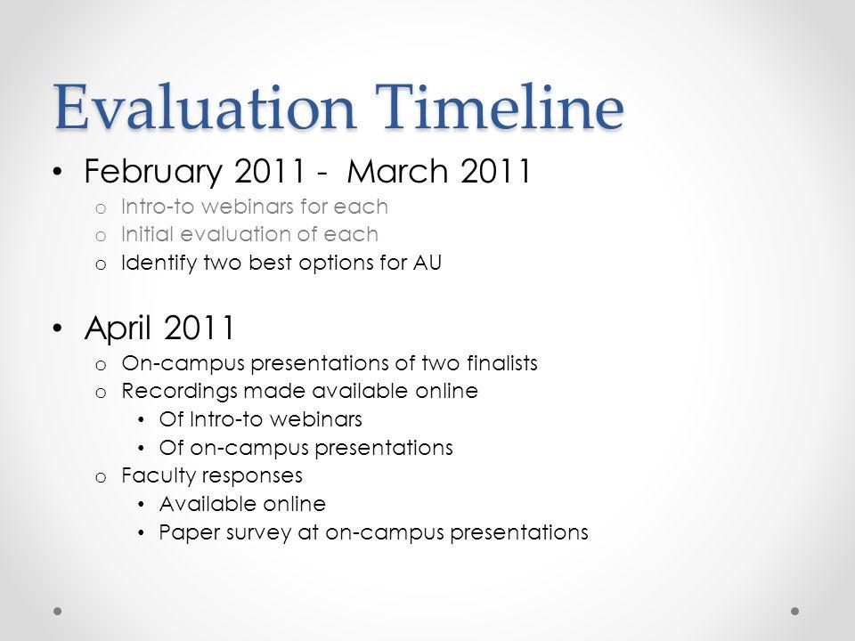 Evaluation Timeline February 2011 - March 2011 April 2011
