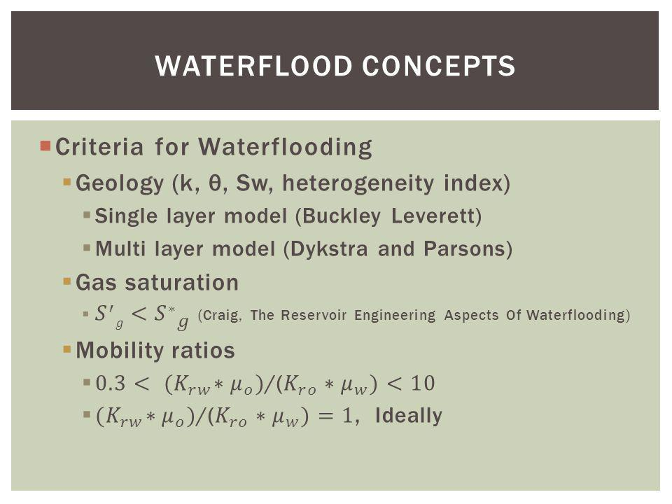 WATERFLOOD CONCEPTS Criteria for Waterflooding