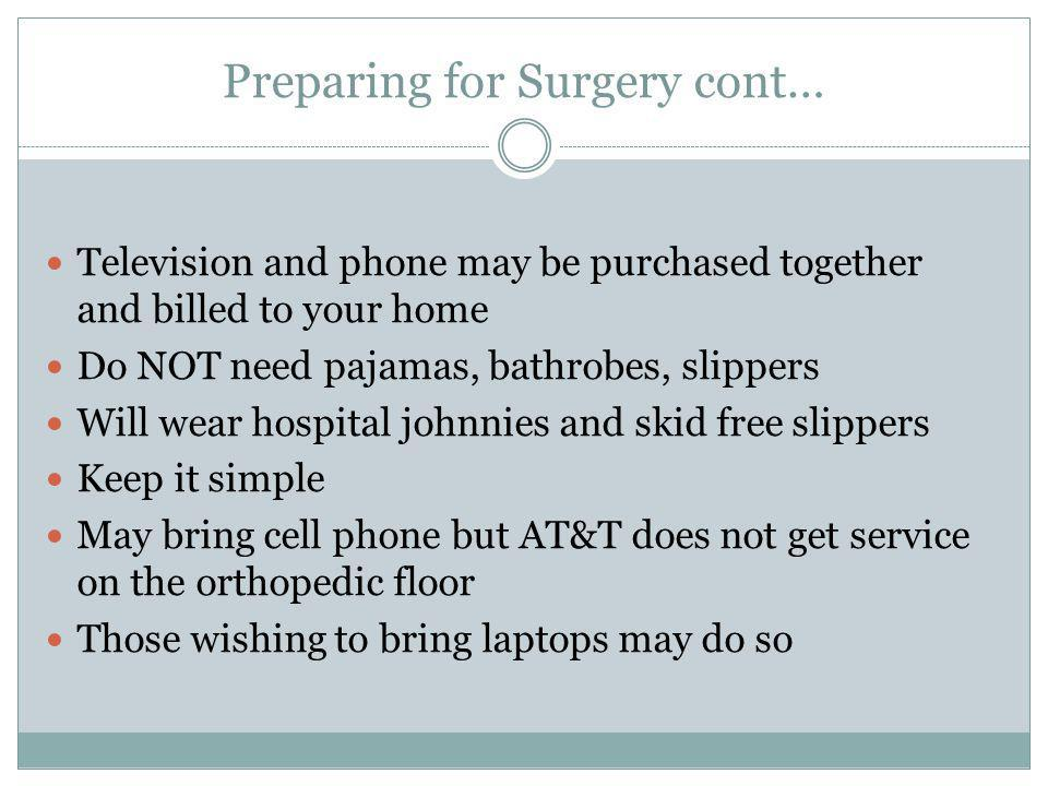 Preparing for Surgery cont…