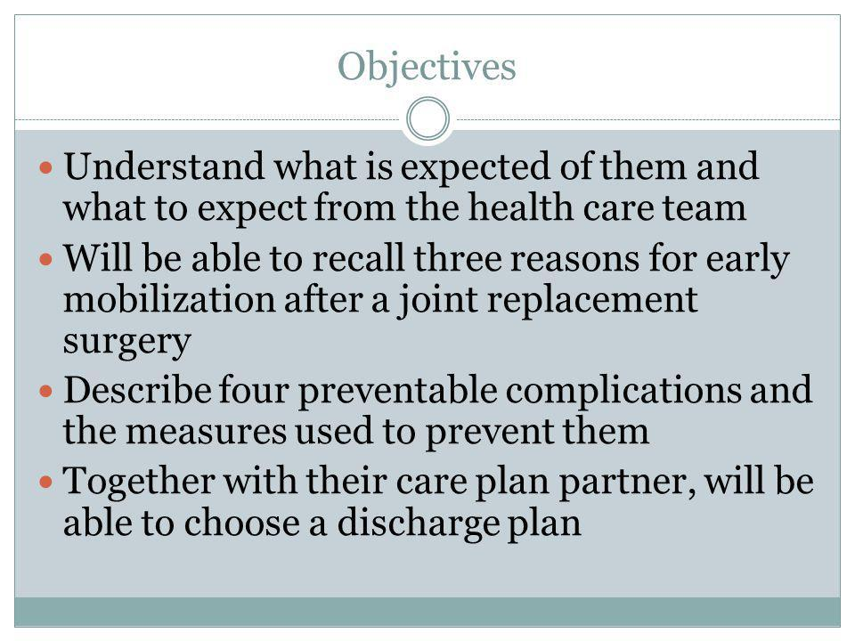 Objectives Understand what is expected of them and what to expect from the health care team.