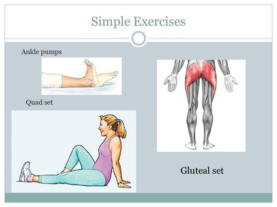 Simple Exercises Gluteal set Ankle pumps Quad set