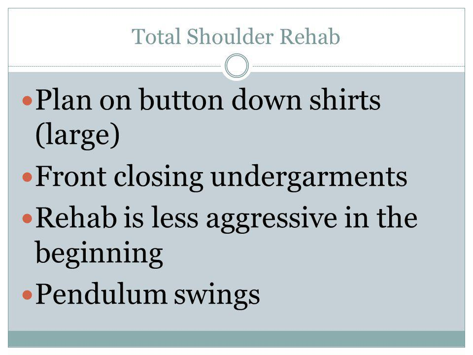 Plan on button down shirts (large) Front closing undergarments