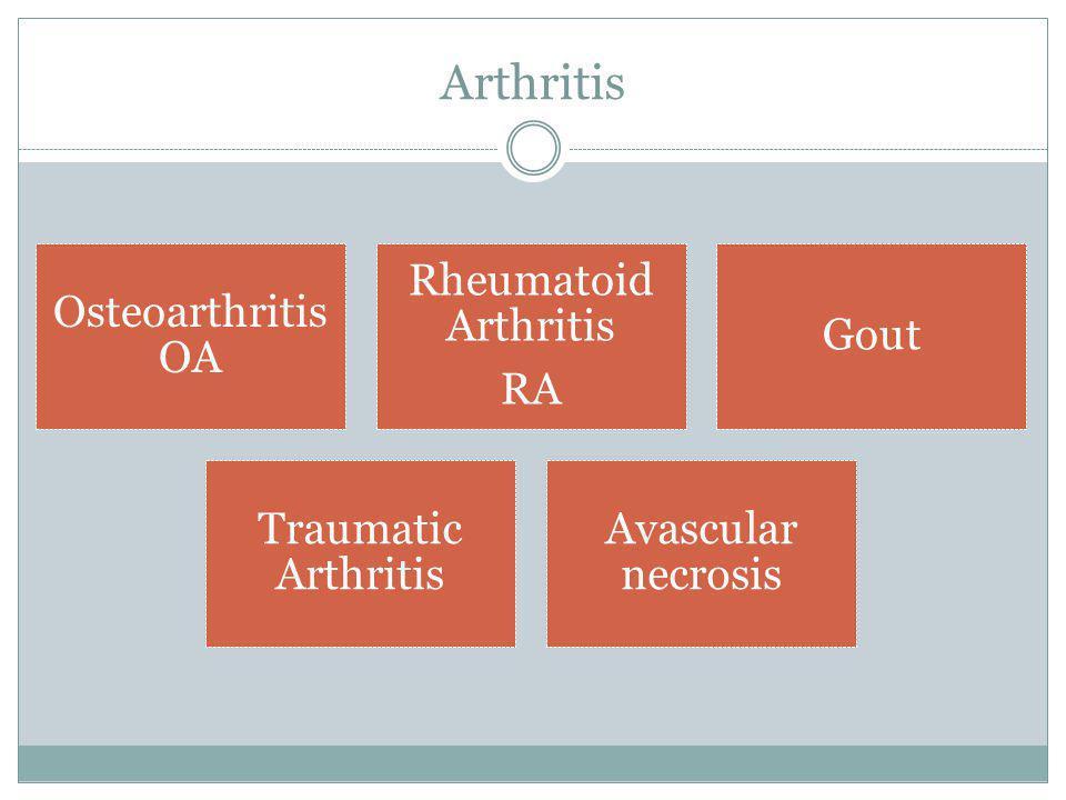 Arthritis Osteoarthritis OA. Rheumatoid Arthritis. RA. Gout. Traumatic Arthritis. Avascular necrosis.
