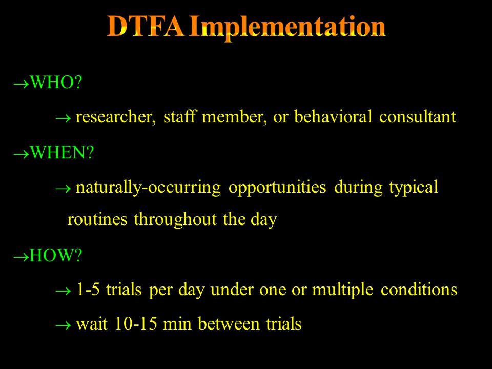 DTFA Implementation WHO