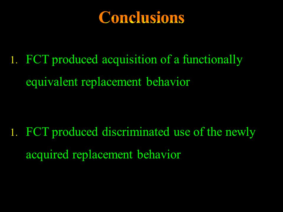Conclusions FCT produced acquisition of a functionally equivalent replacement behavior.
