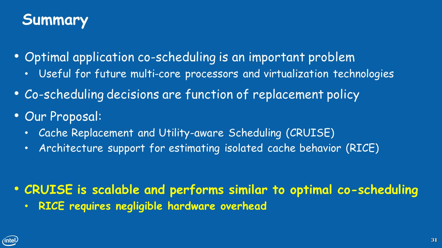 Summary Optimal application co-scheduling is an important problem