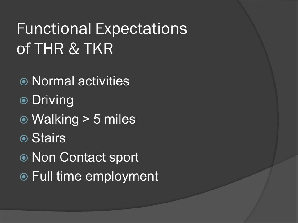 Functional Expectations of THR & TKR