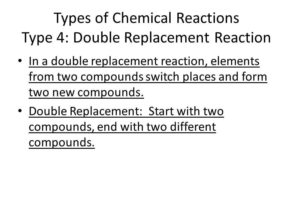 an analysis of the types of chemical bonds and reactions A chemical reaction occurs when reactants are joined together to create a  product that has different chemical properties than the original reactants this  always.