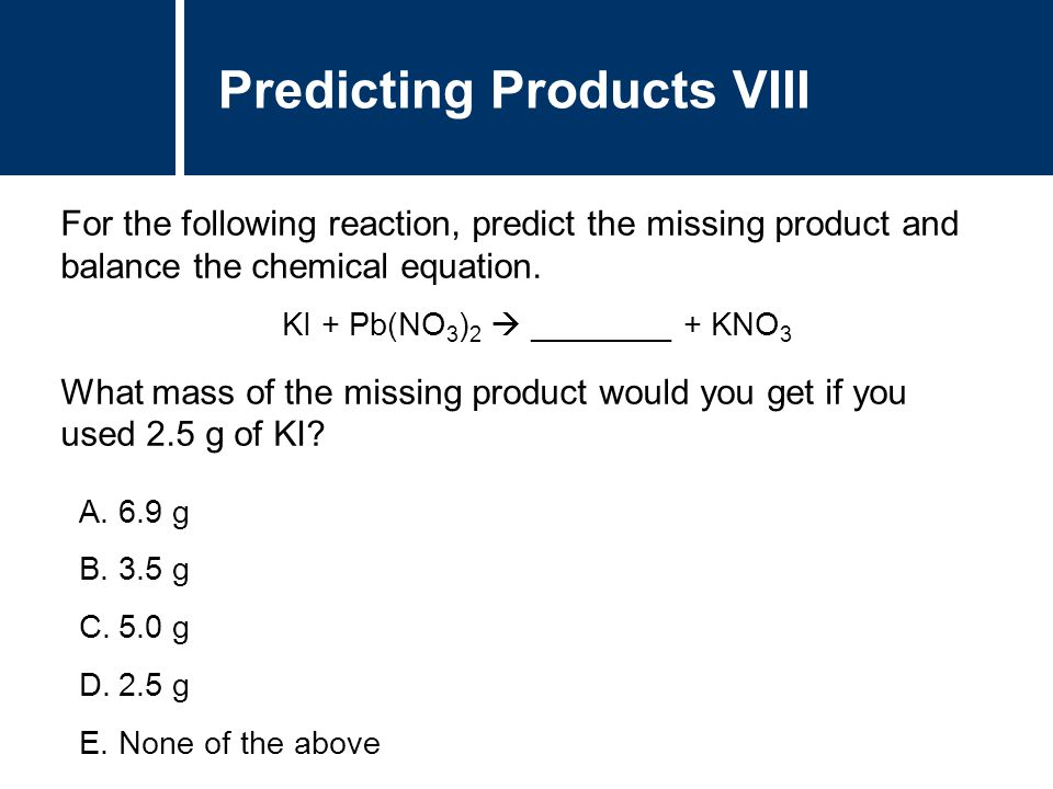 Predicting Products VIII