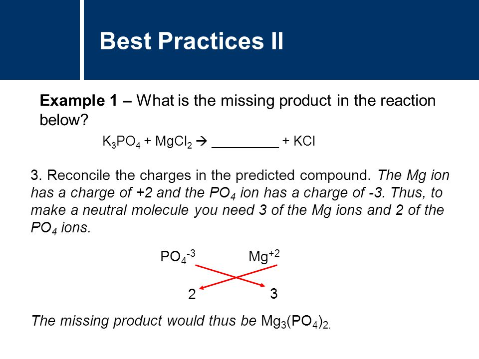 Best Practices II Example 1 – What is the missing product in the reaction below K3PO4 + MgCl2  _________ + KCl.