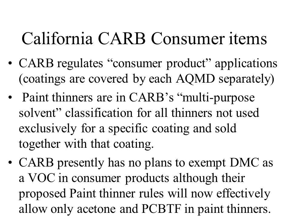 California CARB Consumer items