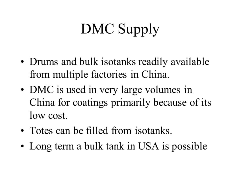 DMC Supply Drums and bulk isotanks readily available from multiple factories in China.