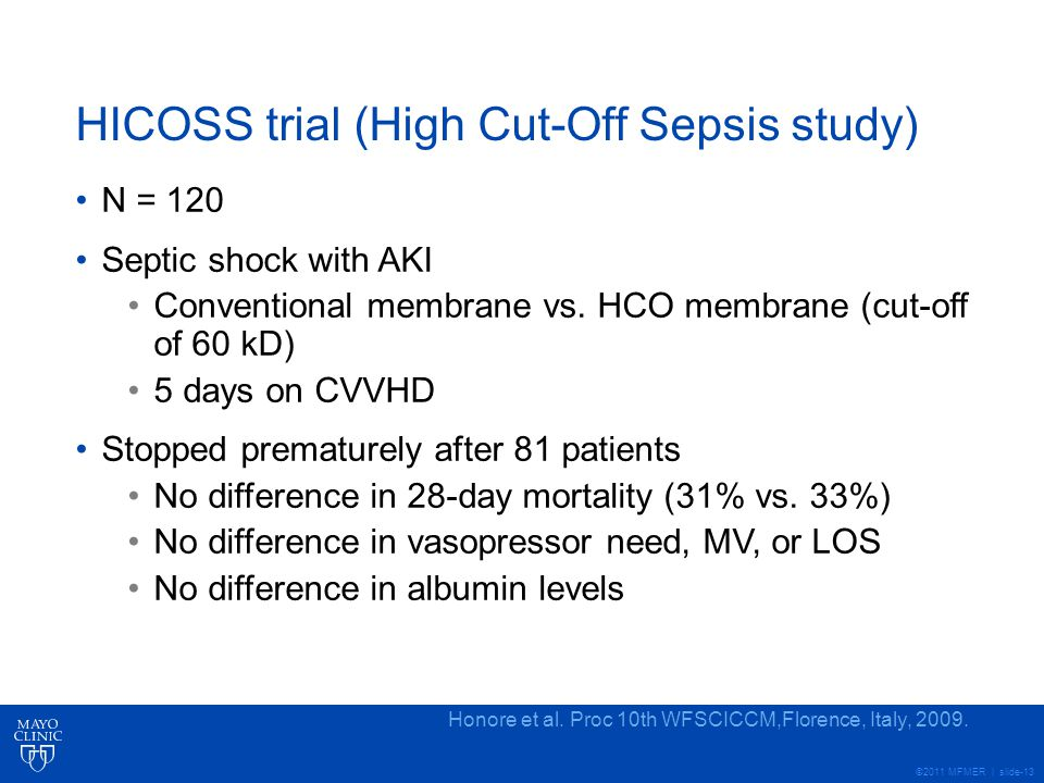 HICOSS trial (High Cut-Off Sepsis study)