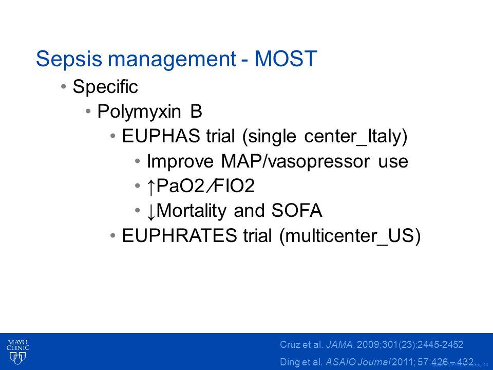 Sepsis management - MOST