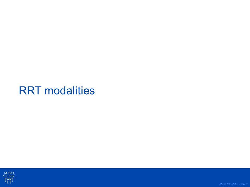 RRT modalities