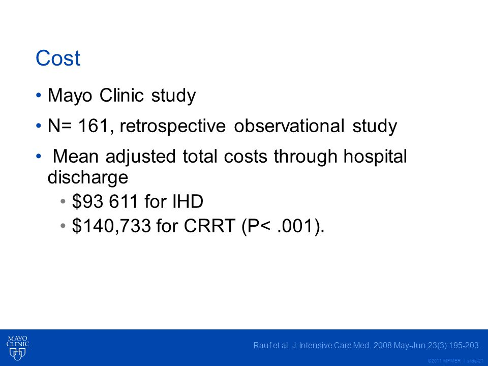 Cost Mayo Clinic study N= 161, retrospective observational study