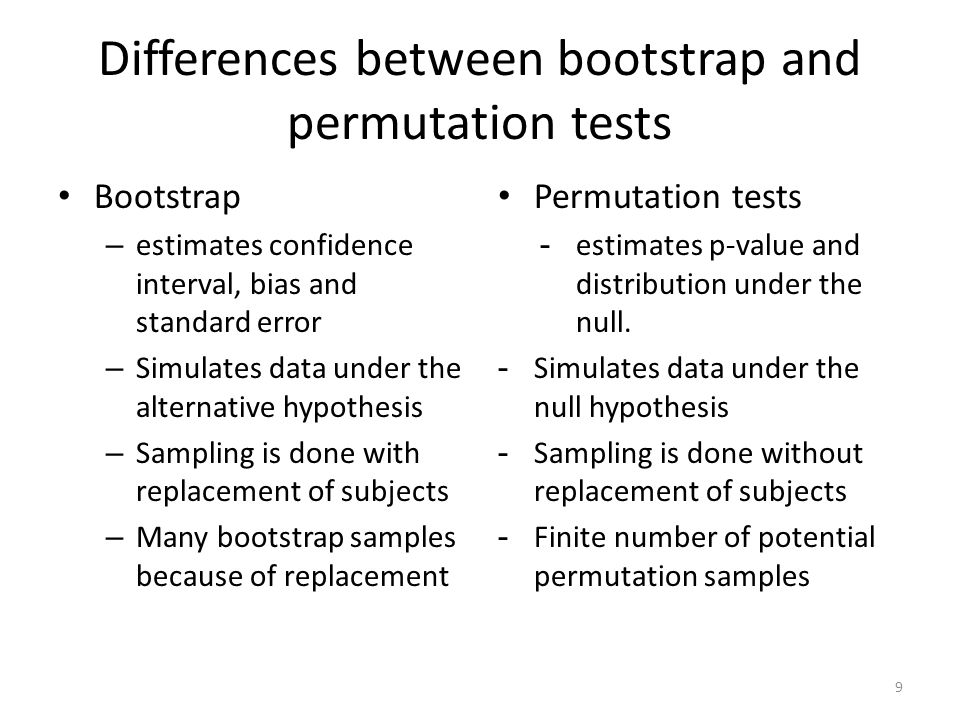 Differences between bootstrap and permutation tests