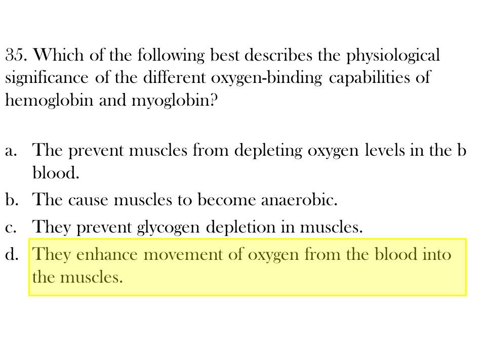 35. Which of the following best describes the physiological significance of the different oxygen-binding capabilities of hemoglobin and myoglobin
