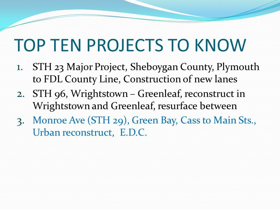 TOP TEN PROJECTS TO KNOW