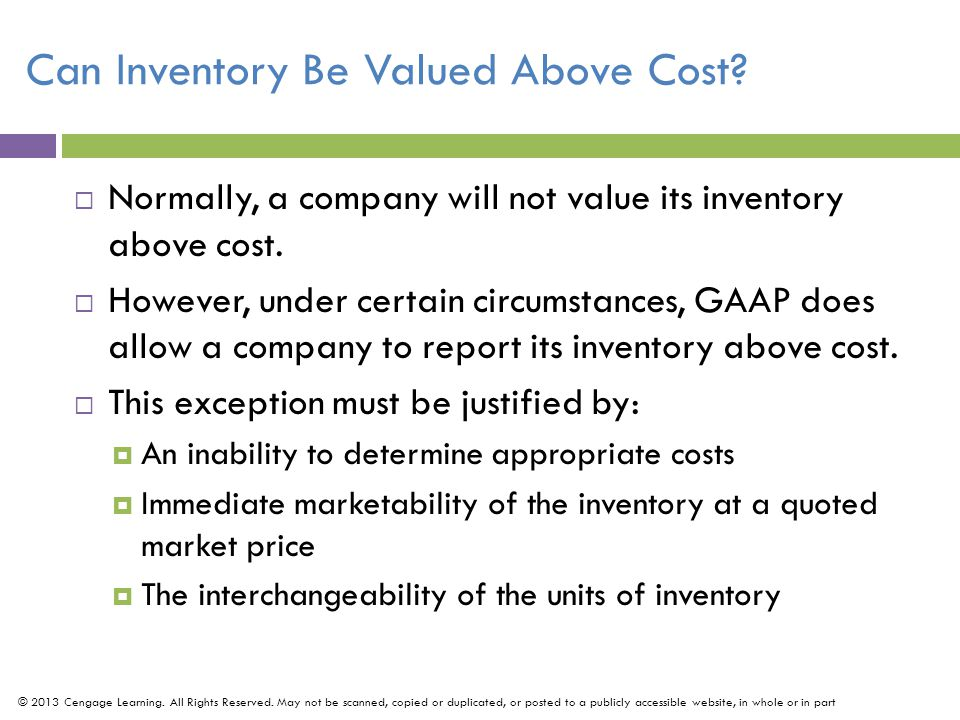 Can Inventory Be Valued Above Cost