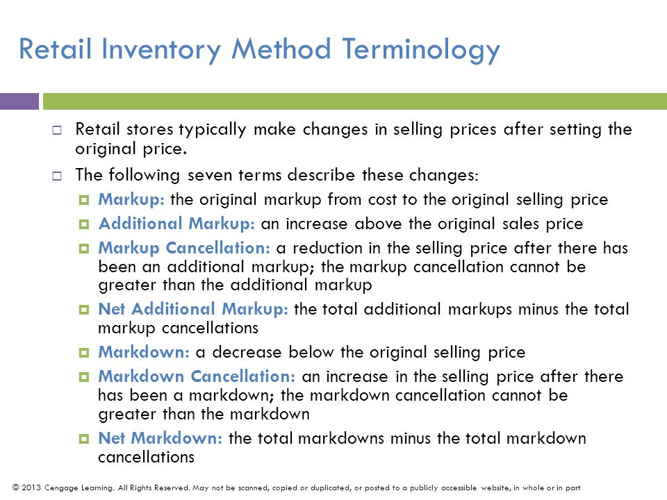 Retail Inventory Method Terminology