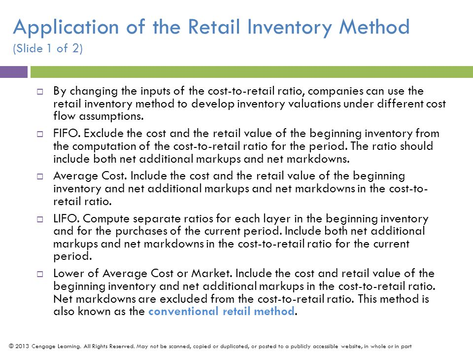 Application of the Retail Inventory Method (Slide 1 of 2)